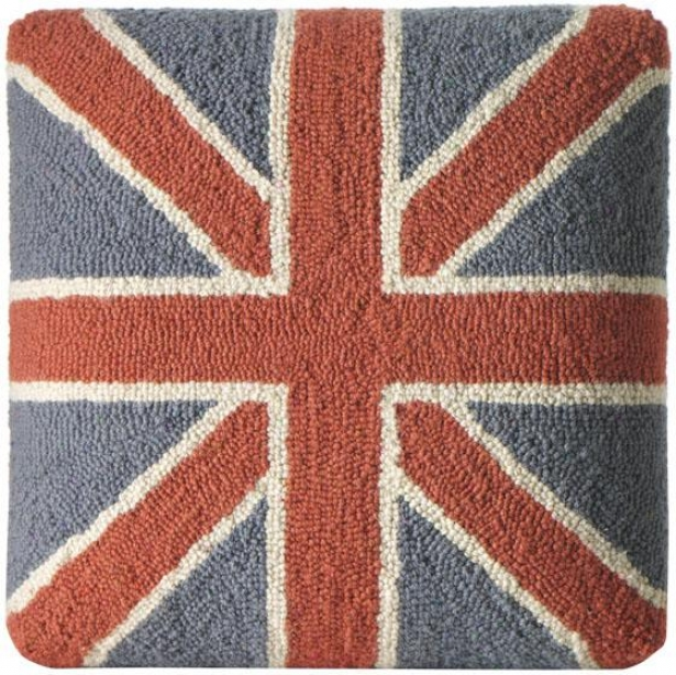 """union Jack Hooked Pillow Or Footstool - Pillow 18""""sq, Blue & Red"""