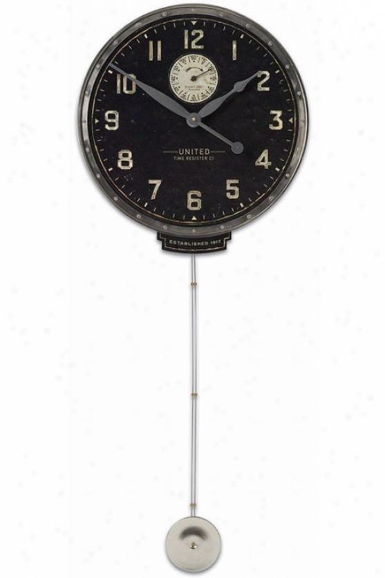 Uni5ed Time Wall Clock - 45hx18wx4d, Silver