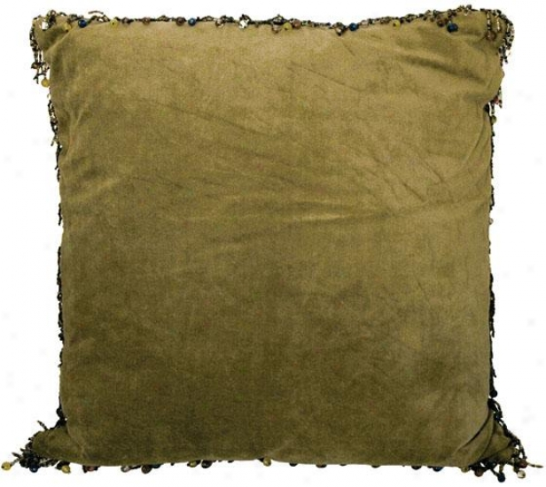 """""""velvet Beaded Decorative Pillow - 18"""""""" Square, Olive"""""""