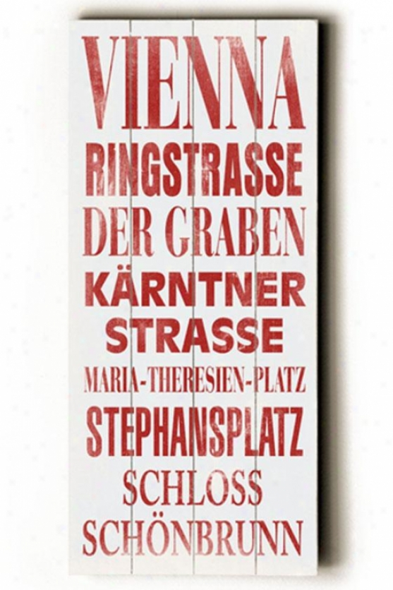 """vienna Transit Wall Plaque - 24h X 10""""w, White W/red"""