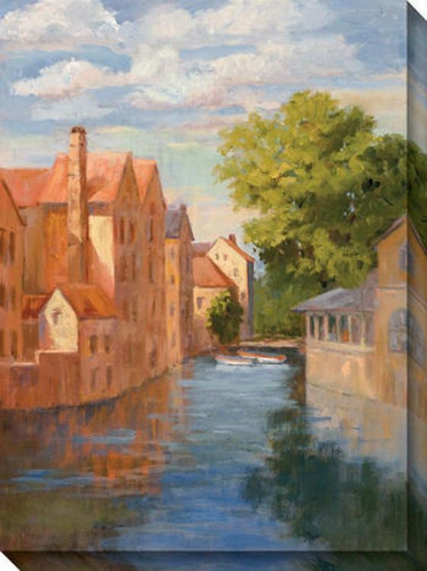 View From The Canal Ii Canvas Wall Art - Ii, Orange/blue