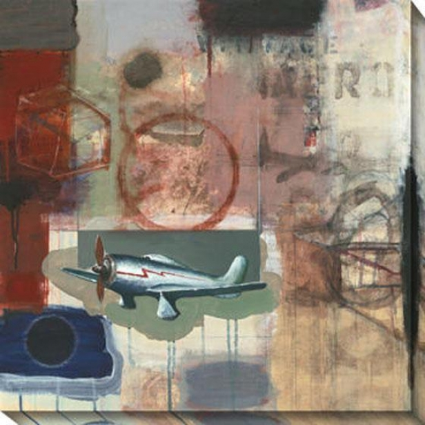 """vintage Aero Canvas Wall Art - 40""""hx40""""w, Multi"""