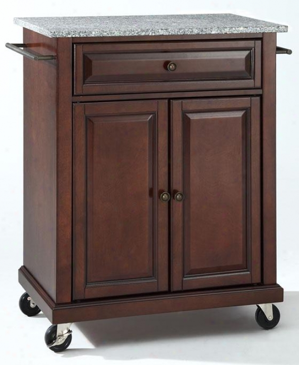 """vintage Mahogany Kitchen Cart - 36""""hx28""""wx18""""d, Granite"""