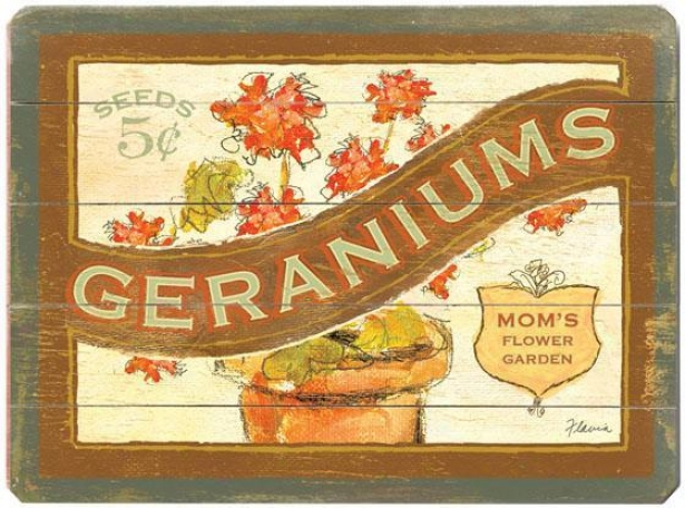 """vintage Original Packet Wooden Sign - 20""""hx14""""w, Geranium"""