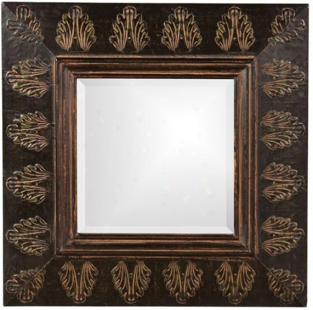 """vitner Mirror - 23""""squarex2""""d, Brown/rust/vrde"""