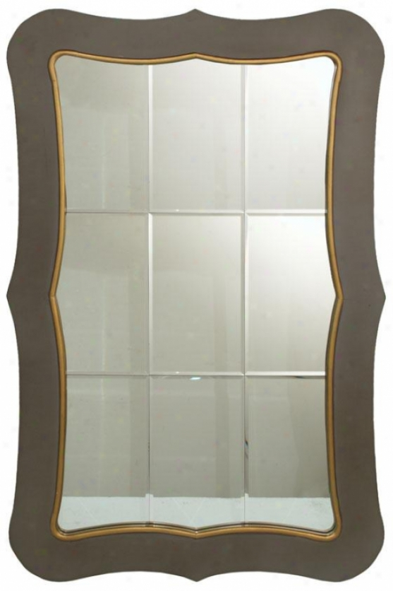 """giveka Mirror - 47h X 30""""w, Taupe W/antique Gold Trimx"""