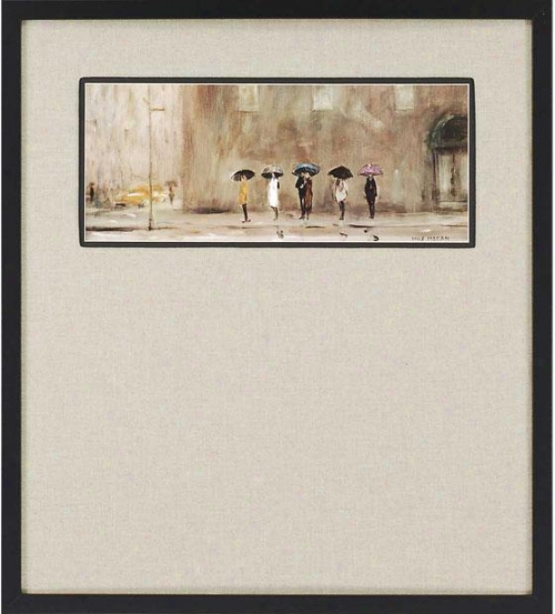 """""""waiting For A Cab Framed Wall Ary - 38""""""""h X 34""""""""w, Beige"""""""