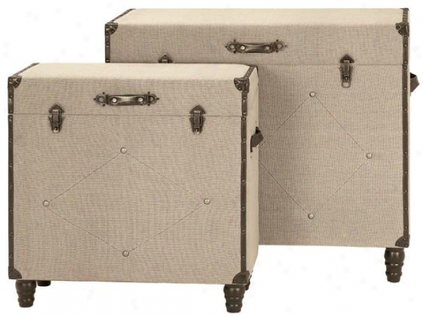 Warren Burlwp Trunks - Set Of 2 - Arrange Of 2, Tan