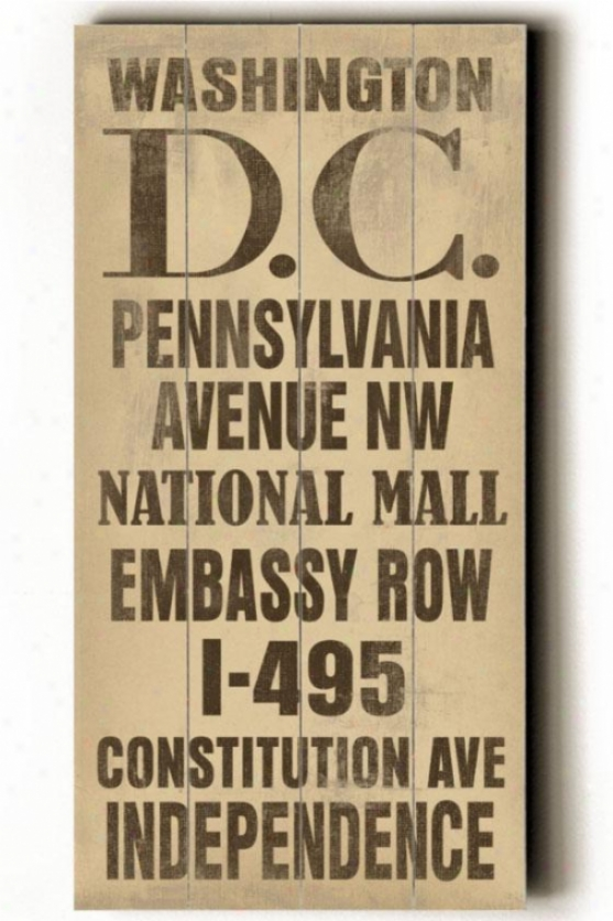 """washington D.c. Transit Wall Plaque - 24h X 10""""w, Ivory"""