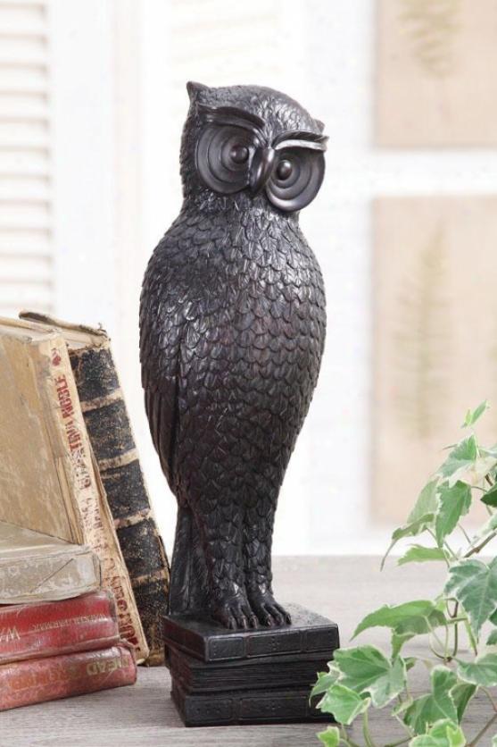 """watchful Owl Statue - 15.5h X 5.5w X 4.5""""d, Black"""