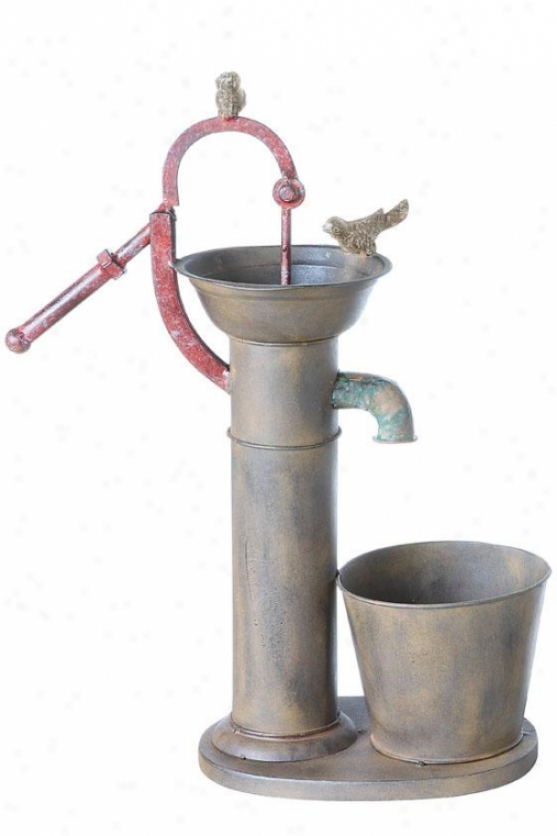 """water Pump Planter - 22""""hx8""""wx17""""d, Pumpkin"""