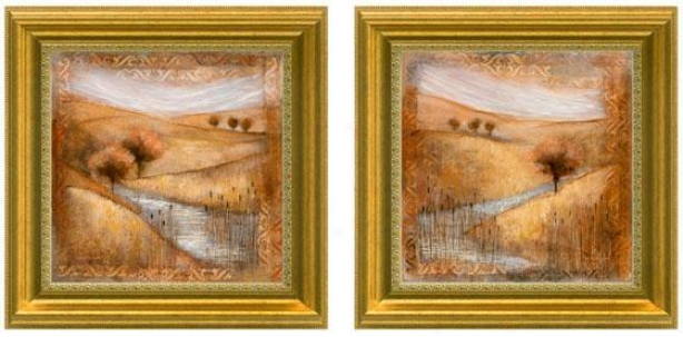 Waterside Framed Wall Art - Set Of 2 - Set Of Two, Tan/gold