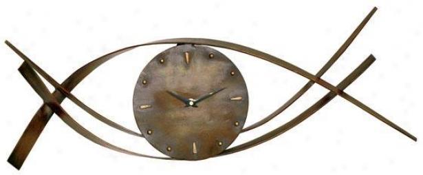 """waves Metal Wall Clock - 9""""hx28""""w, Brown Bronze"""