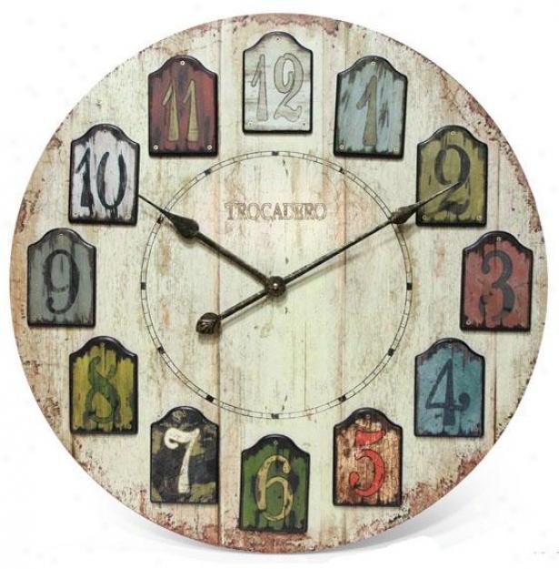 """""""weatbered Plank Wall Clock - 23.75""""""""hx23.75""""""""w, Mlticlrd/wthrd"""""""