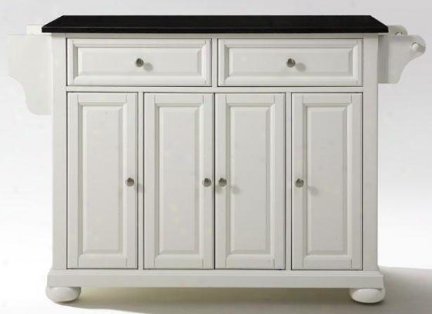 """""""white Kitchen Cart - 36""""""""hx52""""""""wx18""""""""d, Black Granite"""""""