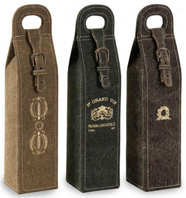 William Linen Wine Bottle Holders - Set Of 3, Brown