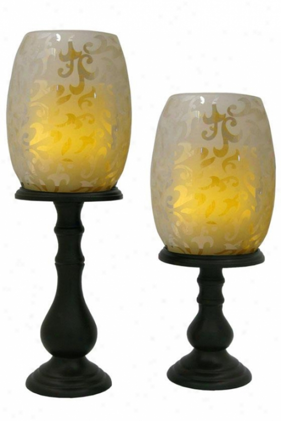Willmington Flameless Hurrucahe Candle Set - Set Of Two, Tan