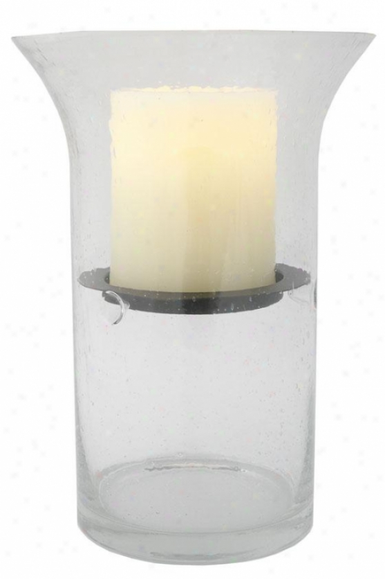 """""""wilshire Fillable Hurricane Candle - 12.5h X 6""""""""wx6""""""""d, Clear Bubbled"""""""