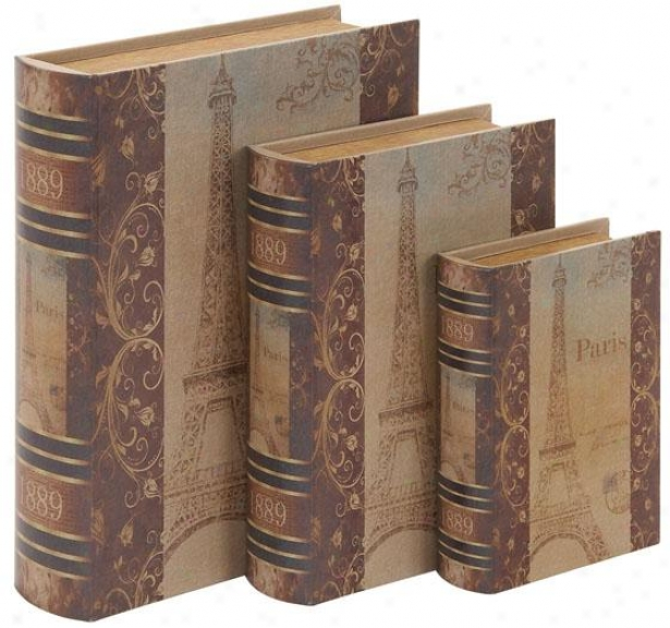 Wine Lovers Book Boxes - Set Of 3 - Set Of Three, Brown