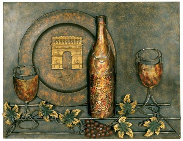 """wine Motif Metal Wall Art - 18.25""""hx23.75""""w, Brown"""