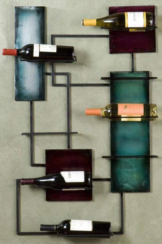 """wine Storage Wall Sculpture - 24""""wx38.5""""h, Bronze"""