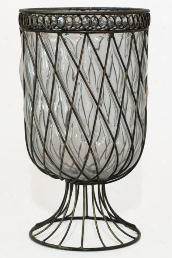 Wire And Glass Vase - 13.25hx7.5w, Glass