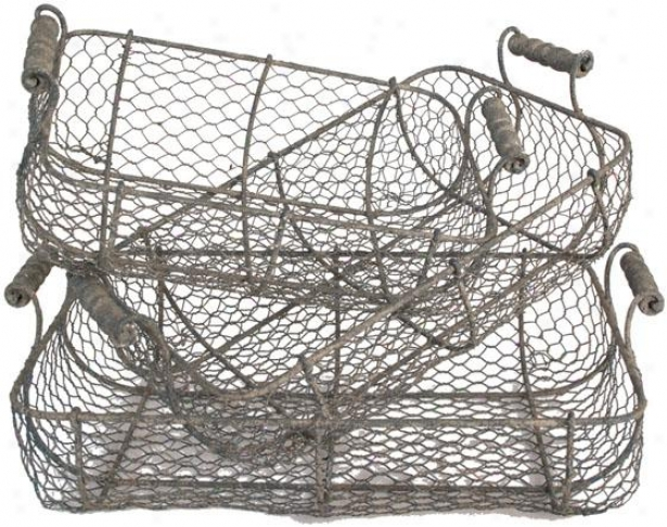Wire Baskets In the opinion of Handles - Set Of 3 - Set Of Three, Grey