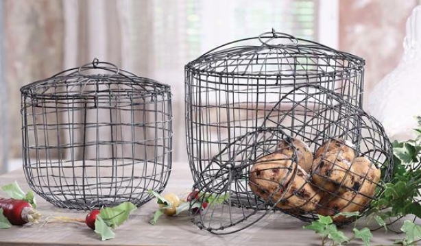 Wire Baskets With Lids - Set Of 3 - Set Of Three, Gray