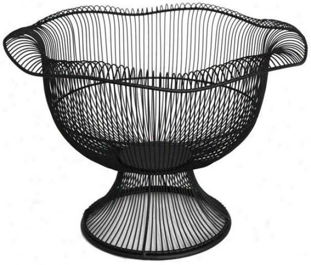 """wire Footed Bowl - Large: 9.5h X 14""""rd, Blzck"""