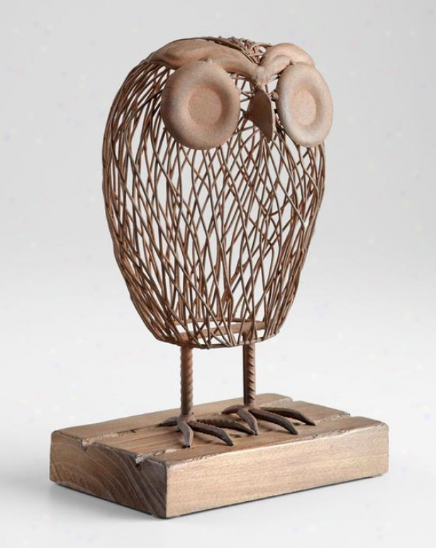 Wisely Owl Sculpture - 13hx5w, Rustic Wood