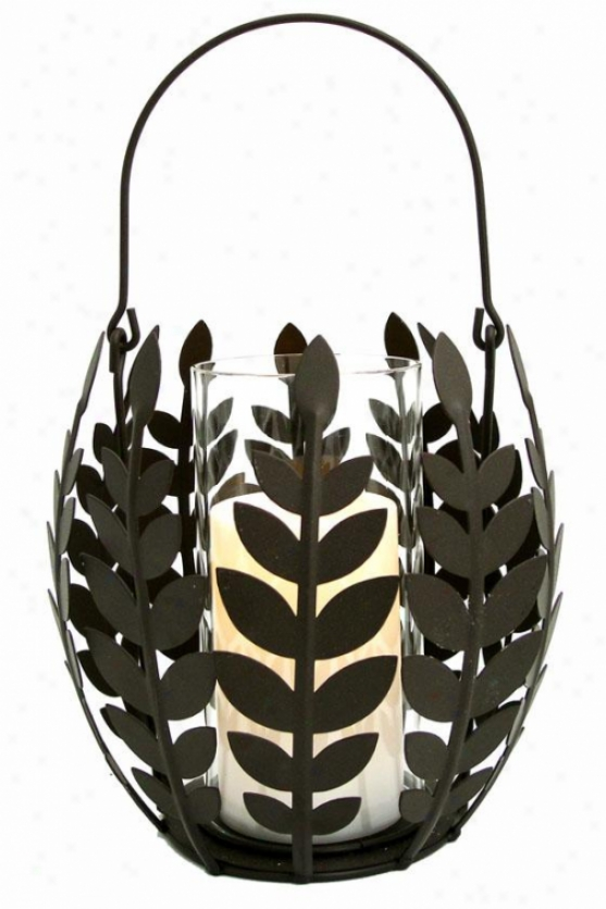 """wisteria Leaf Basket Flameless Candle - 8""""h X 8""""w X 8""""d, Bronze Bronze"""