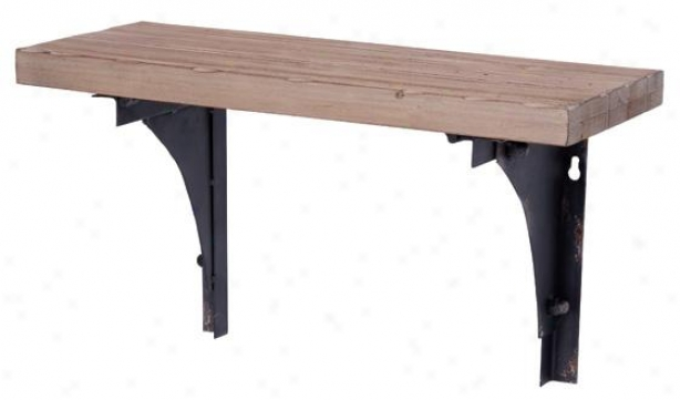 Wood And Metal Wall Shelf - 10hx18w18d, Brown