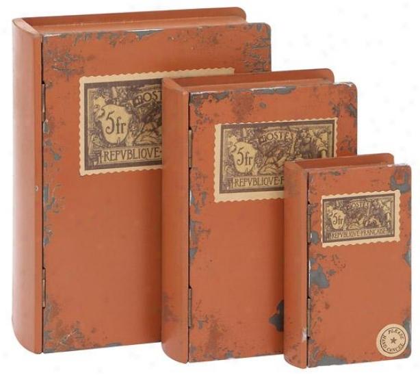 Wood Book Boxes - Set Of 3 - Set Of 3, Antique Orange