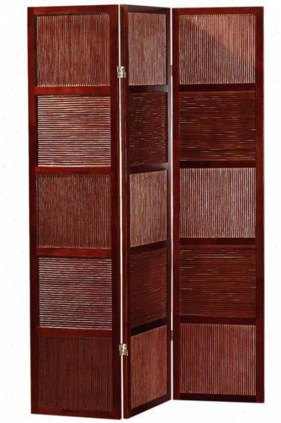 Wood & Rattan Three Panel Folding-screen Roomm Divider