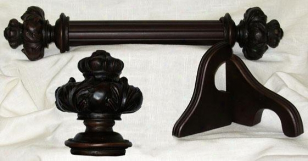 """wood Royal Crown Drapery Hardware - 72""""l X 2""""dia, English Walnut"""