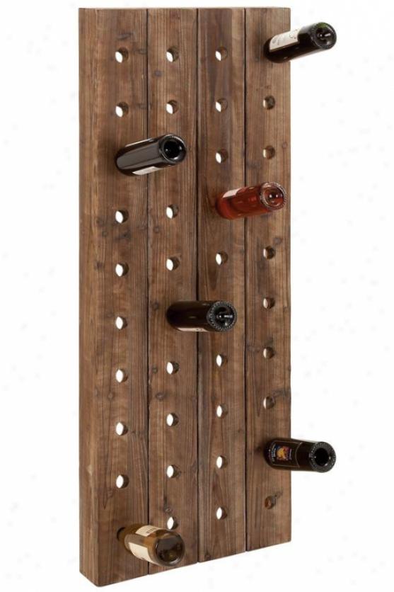 Wood Wine Rack - 57hx21s, Brown Wood