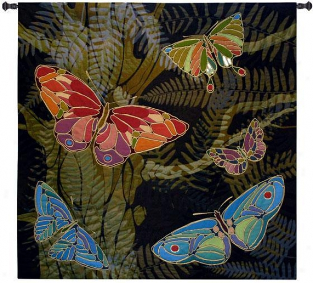 """woodland Butterfly Tapestry - 53""""square, Blue"""