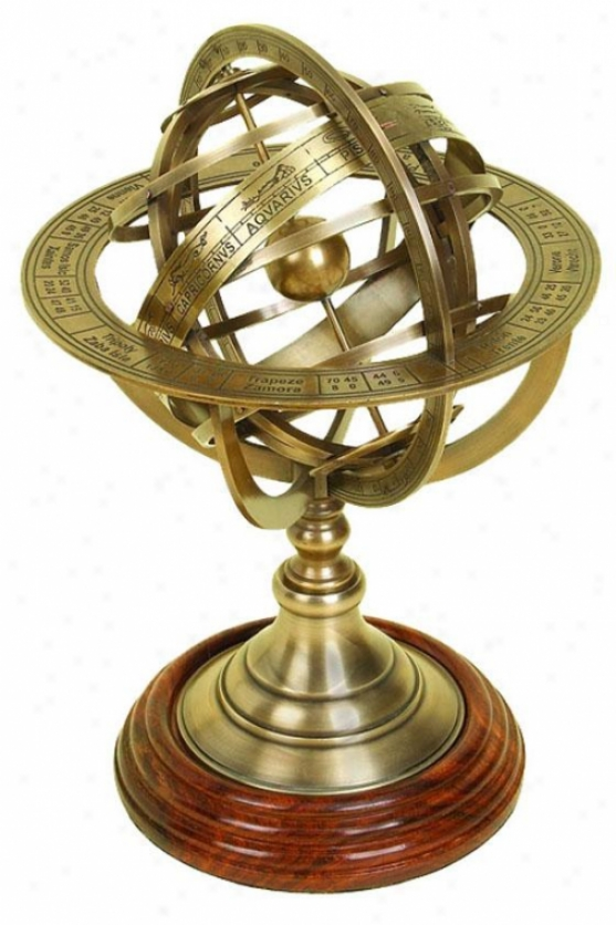 """worldly Globe Armillary - 11""""h, Copper Brass"""