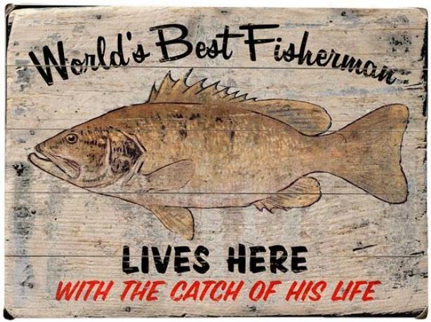"""""""worlds Best Fishemran Wooden Prodigy - 20""""""""hx14""""""""w, Gray"""""""