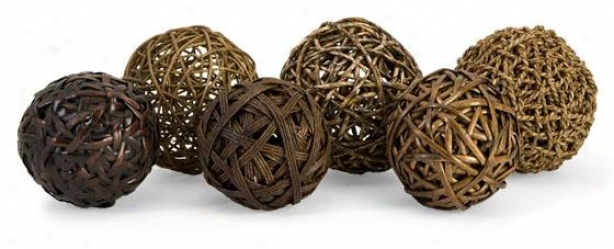 Worren Natural Wrapped Balls - Set Of 6 - Set Of Six, Brown