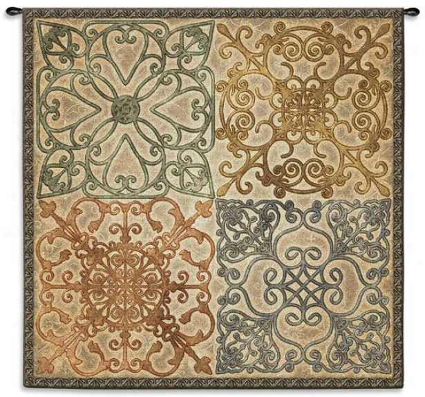 """wrought Iron Elegance Tapestry - 44""""hx44""""w, Neutral Tones"""