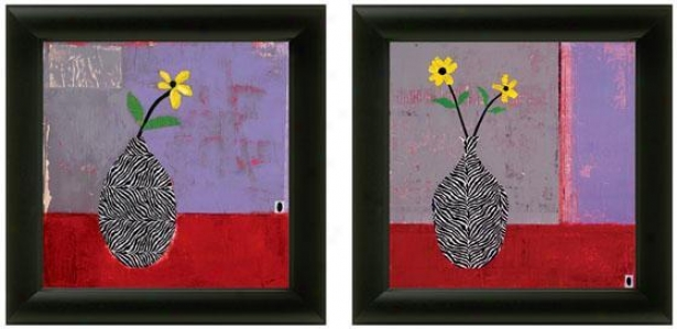 Yellow Daisy Framed Wall Art - Set Of 2 - Set Of Pair, Purple