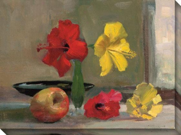 """yellow Hibiscus Wtih Apple Canvas Wall Art - 36""""hx48""""w, Yellow"""