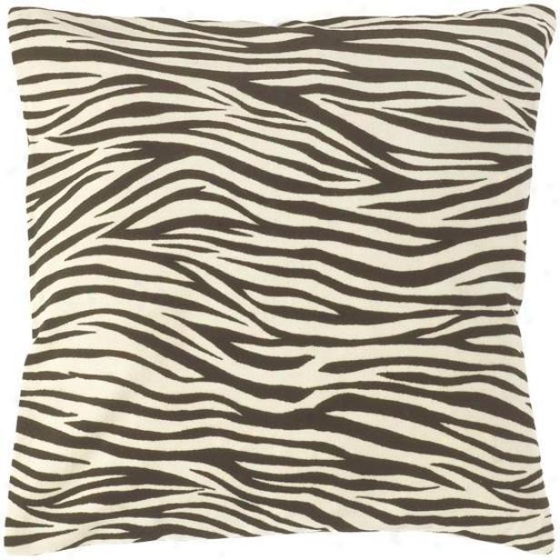 """zebra Striped Pillows - Set Of 2 - 18""""x18"""", Black"""