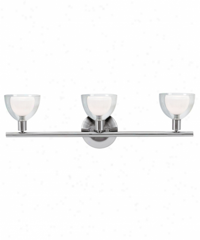 Access Lighting 61044-bs-opc Torch 3 Light Bath Vqnity Light In Brushed Steel With Opal Inner Clear Exterior Glass