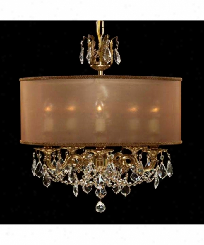 American Brass And Crystal Ch6512-a-044g-st-dc Llydia 5 Light Single Tier Chandelier In Antique White Glossy With Clear Precision Pendalogue Crystal