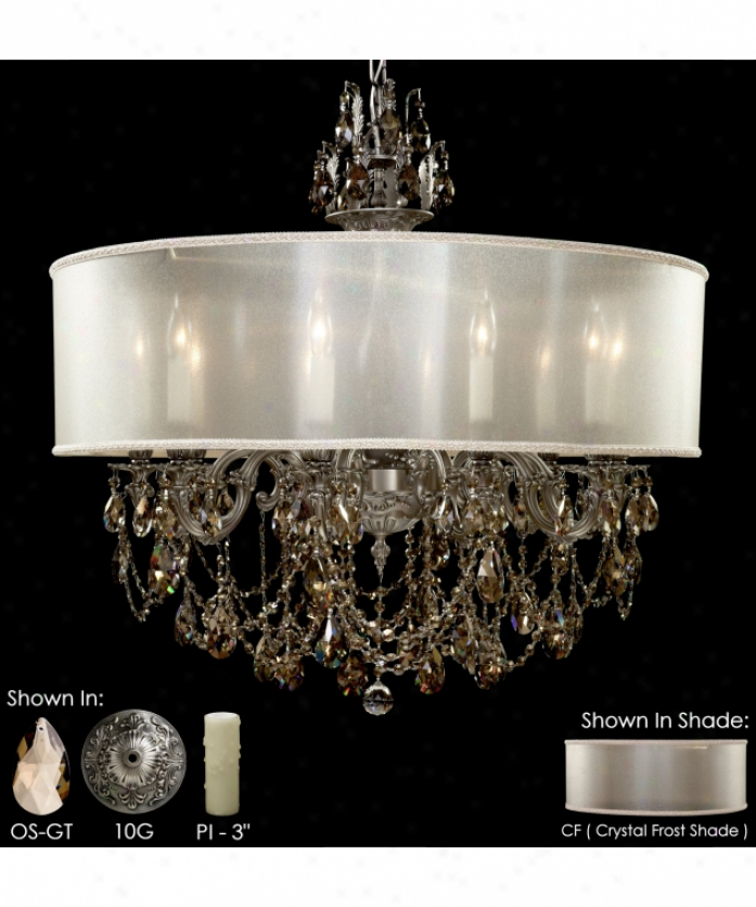 American Brass And Crystal Ch6562-o-07g-pi-cf Llydia 10 Easy  Single Tier Chandelier In Satin Nickel With Clear Precision Teardrop Crystal