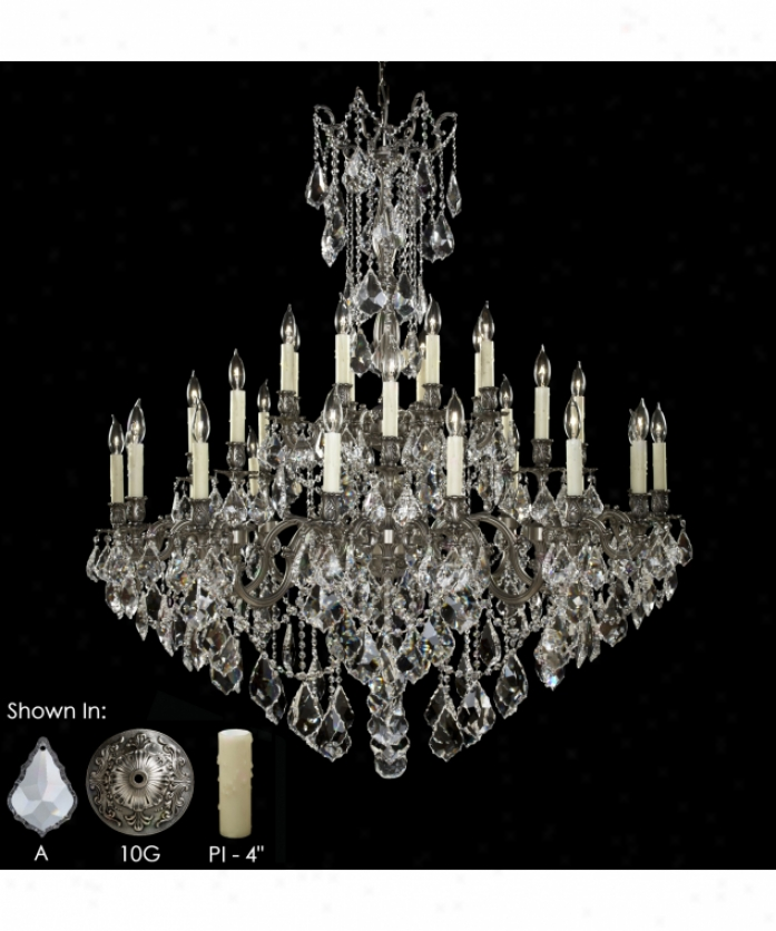 American Brass And Crystal Ch9323-a-01g-pi Elisa 32 Light Large Foyer Chandelier In Polished Brass With Umber Inlay With Clear Precision Pendalogue Crystal
