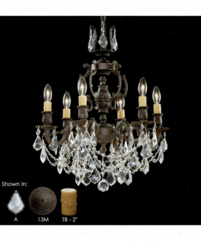 American Brass And Crystal Ch9522-a-04b-0i Rosstta 6 Light Alone Tier Chandelier In Antique White Glossy With Clear Precision Pendalogue Crystal