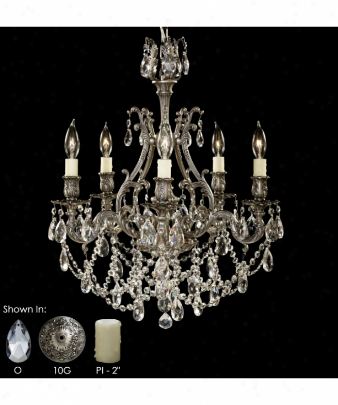 American Brass And Crystal Ch9640-o-09m-st Chateau 5 Light Single Row Chandelier In Antique Pewter With Clear Precision Teardrop Crystal